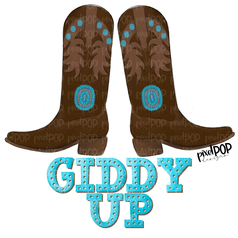 Giddy Up Cowboy Boots PNG Design   Giddy Up   Cowboy PNG   Rodeo Clip Art   Giddy   Western Digital Art   Printable Art   Digital Download