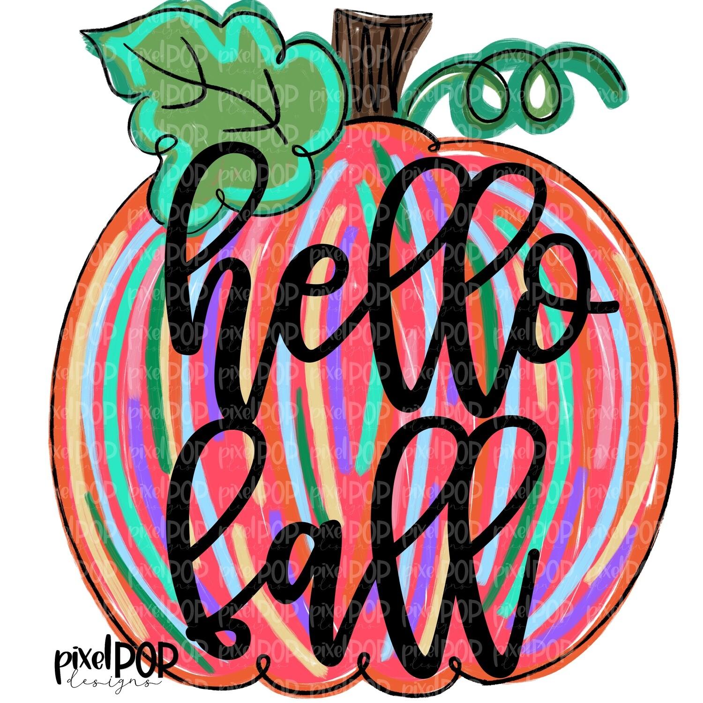 Pink Pumpkin Colorful Hello Fall PNG | Pumpkin Art | Pumpkin PNG Design | Hand Painted Design | Fall Art | Fall Design | Fall Sublimation