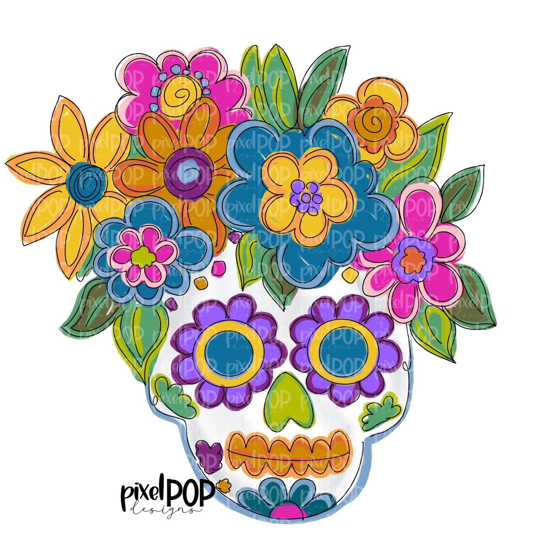 Sugar Skull Floral PNG | Halloween | Skull Art | Skull Design | Skull Sublimation Art | el Día de los Muertos | Day of the Dead | Halloween