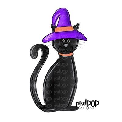 Black Cat Witch Halloween PNG | Cat PNG | Halloween Art | Sublimation Design | Digital Artwork | Digital Download | Printable Art | Clip Art