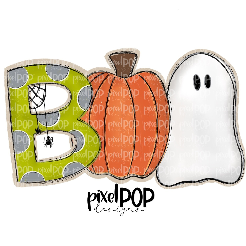 Boo Spider Pumpkin Ghost Halloween PNG   Hand Drawn Sublimation Design   Sublimation PNG   Digital Download   Printable Artwork   Art