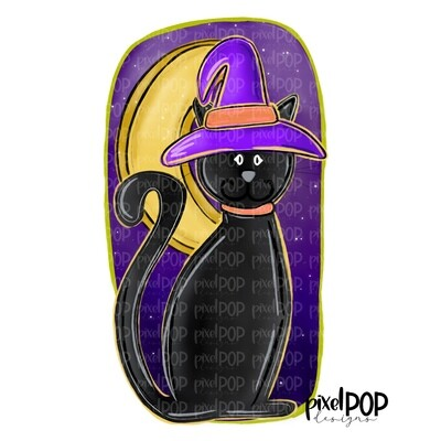 Black Cat Witch with Moon Halloween PNG | Cat PNG | Halloween Art | Sublimation Digital Art | Digital Download | Printable Art | Clip Art