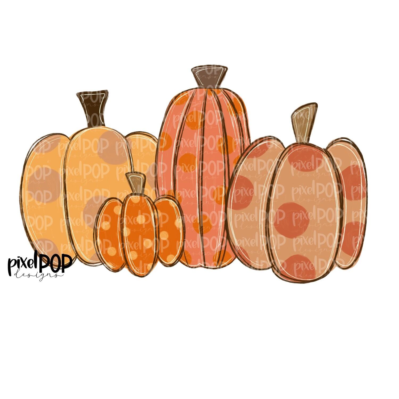 Group of Orange Pumpkins PNG   Pumpkin Art   Pumpkin PNG Design   Hand Painted Design   Fall Art   Fall Design   Fall Art   Happy Fall