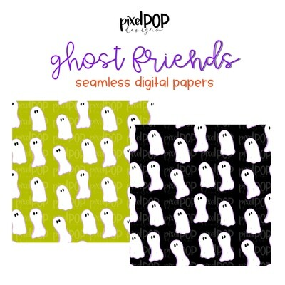 Ghost Friends Seamless Digital Papers Set of Two PNG   Halloween   Hand Painted   Sublimation   Digital Download   Scrapbooking Paper