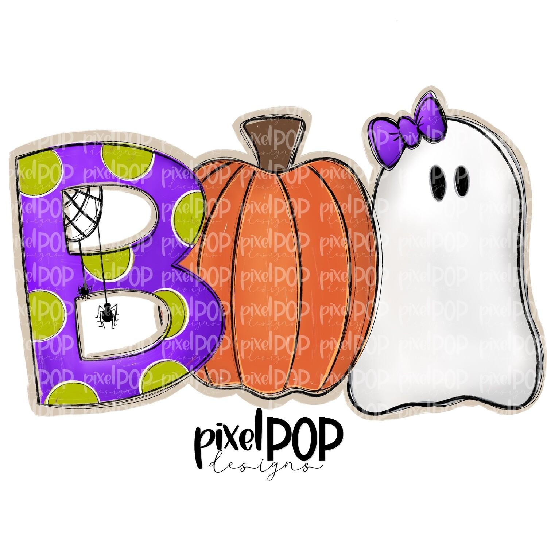 Boo Purple Spider Pumpkin Ghost Halloween PNG   Hand Drawn Sublimation Design   Sublimation PNG   Digital Download   Printable Artwork   Art