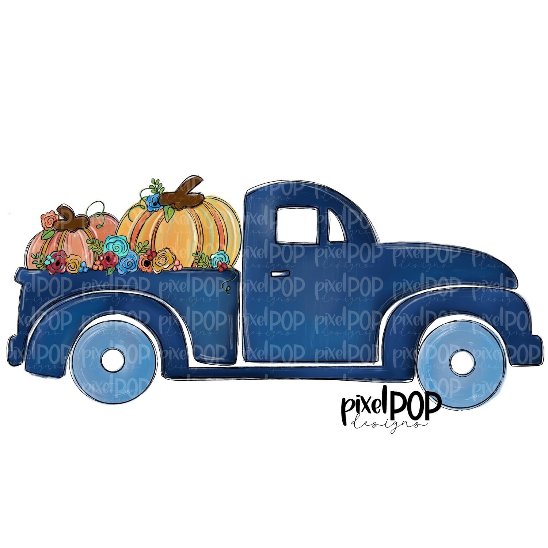 Fall Truck with Pumpkins Blue PNG   Fall Pumpkin Design   Fall   Fall Design   Sublimation PNG   Digital Download   Printable Artwork   Art