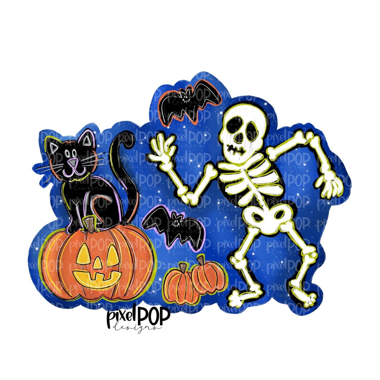 Dancing Skeleton and Friends Blue PNG   Halloween Scene   Skull Design   Skull Sublimation Art   Sublimation PNG   Digital Download   Printable
