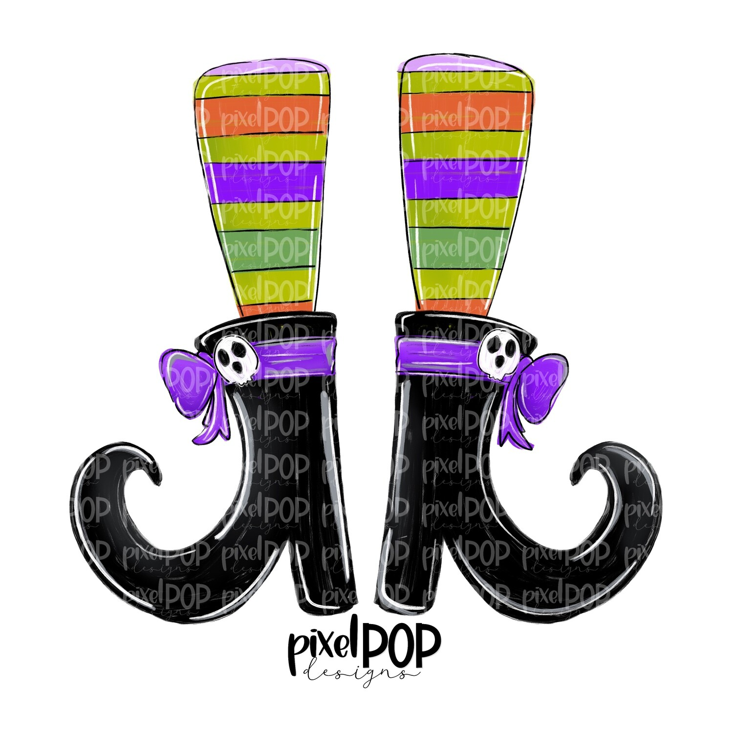 Witch Shoes with Striped Socks PNG | Halloween Design | Witch Design | Spooky Sublimation PNG | Digital Download | Printable Artwork | Art