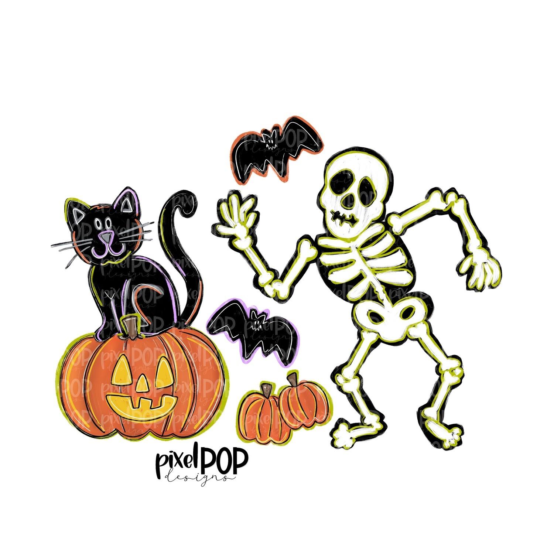 Dancing Skeleton and Friends PNG   Halloween Scene   Skull Design   Skull Sublimation Art   Sublimation PNG   Digital Download   Printable