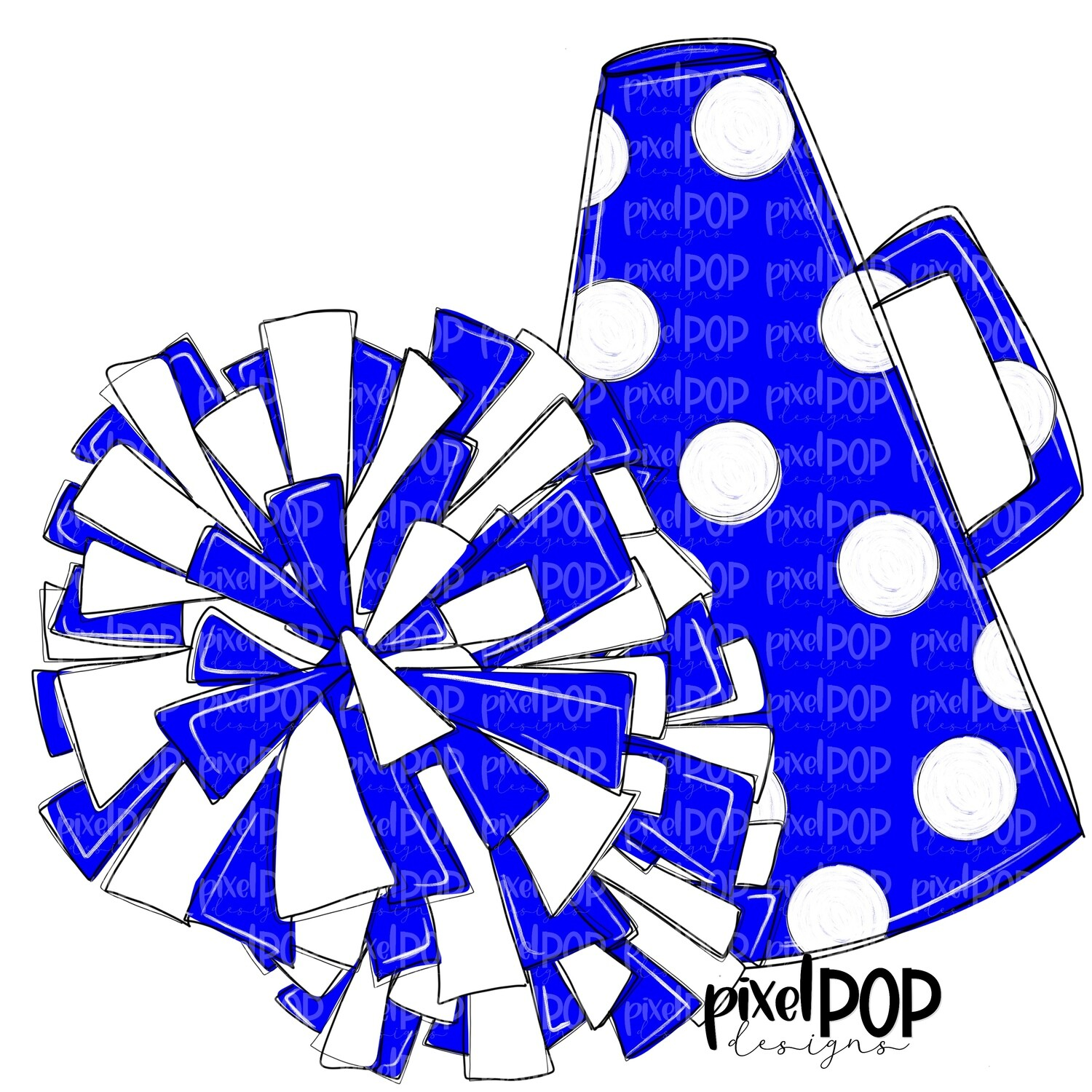 Cheerleading Megaphone and Poms Blue and White PNG | Cheerleading | Cheer Design | Cheer Art | Cheer Blank | Sports Art
