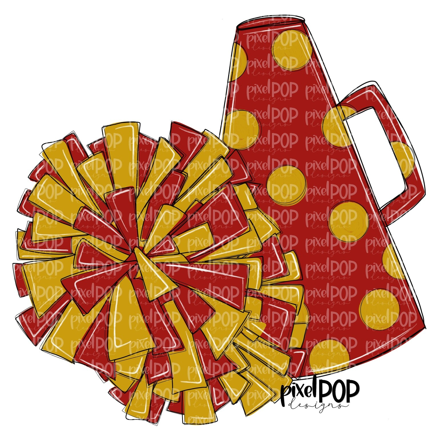 Cheerleading Megaphone and Poms Dark Red and Gold PNG | Cheerleading | Cheer Design | Cheer Art | Cheer Blank | Sports Art
