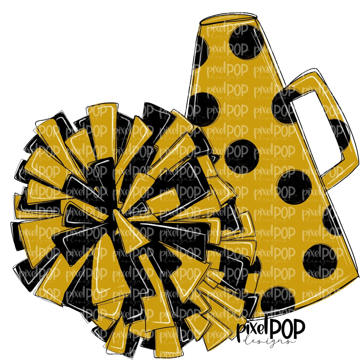 Cheerleading Megaphone and Poms Black and Gold PNG   Cheerleading   Cheer Design   Cheer Art   Cheer Blank   Sports Art