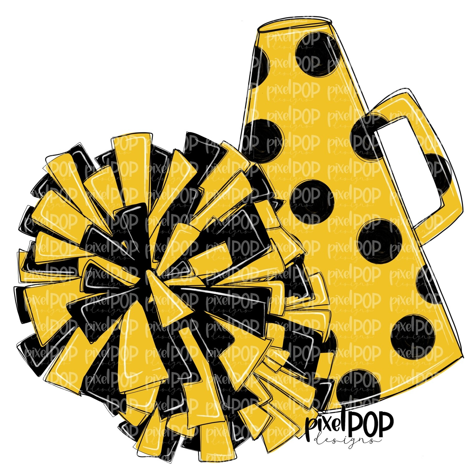 Cheerleading Megaphone and Poms Black and Yellow PNG   Cheerleading   Cheer Design   Cheer Art   Cheer Blank   Sports Art