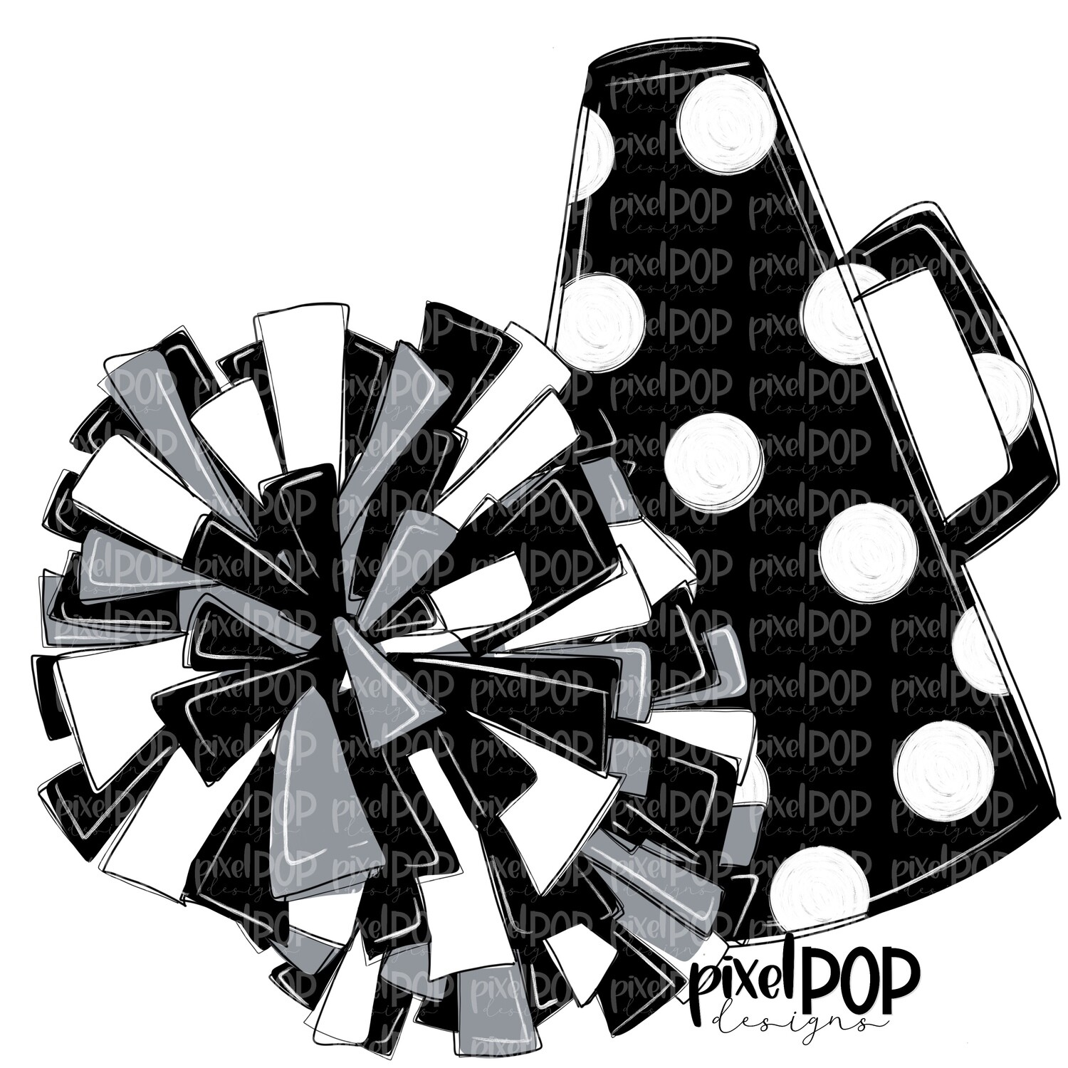 Cheerleading Megaphone and Poms Black and Grey Silver PNG   Cheerleading   Cheer Design   Cheer Art   Cheer Blank   Sports Art