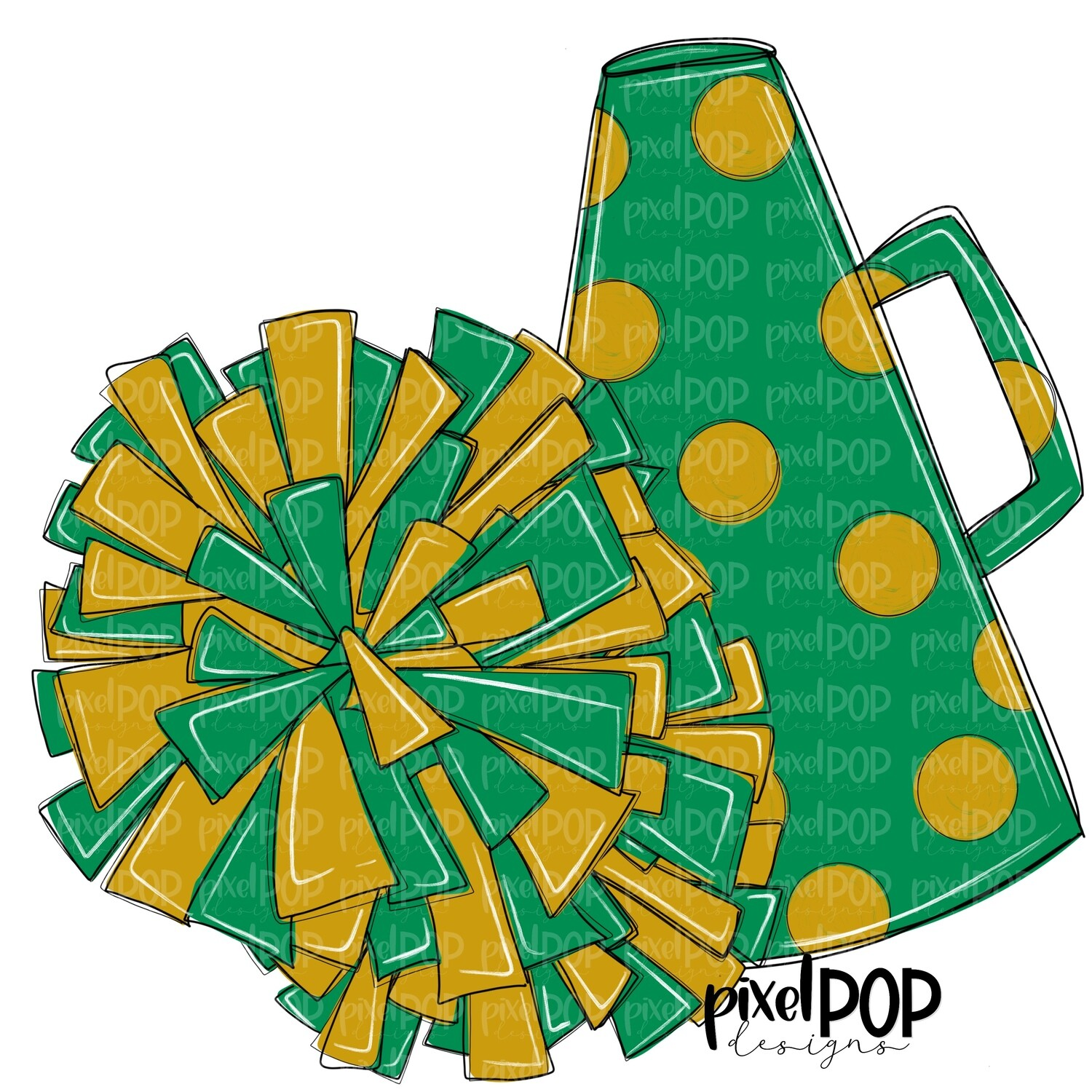 Cheerleading Megaphone and Poms Green and Gold PNG | Cheerleading | Cheer Design | Cheer Art | Cheer Blank | Sports Art
