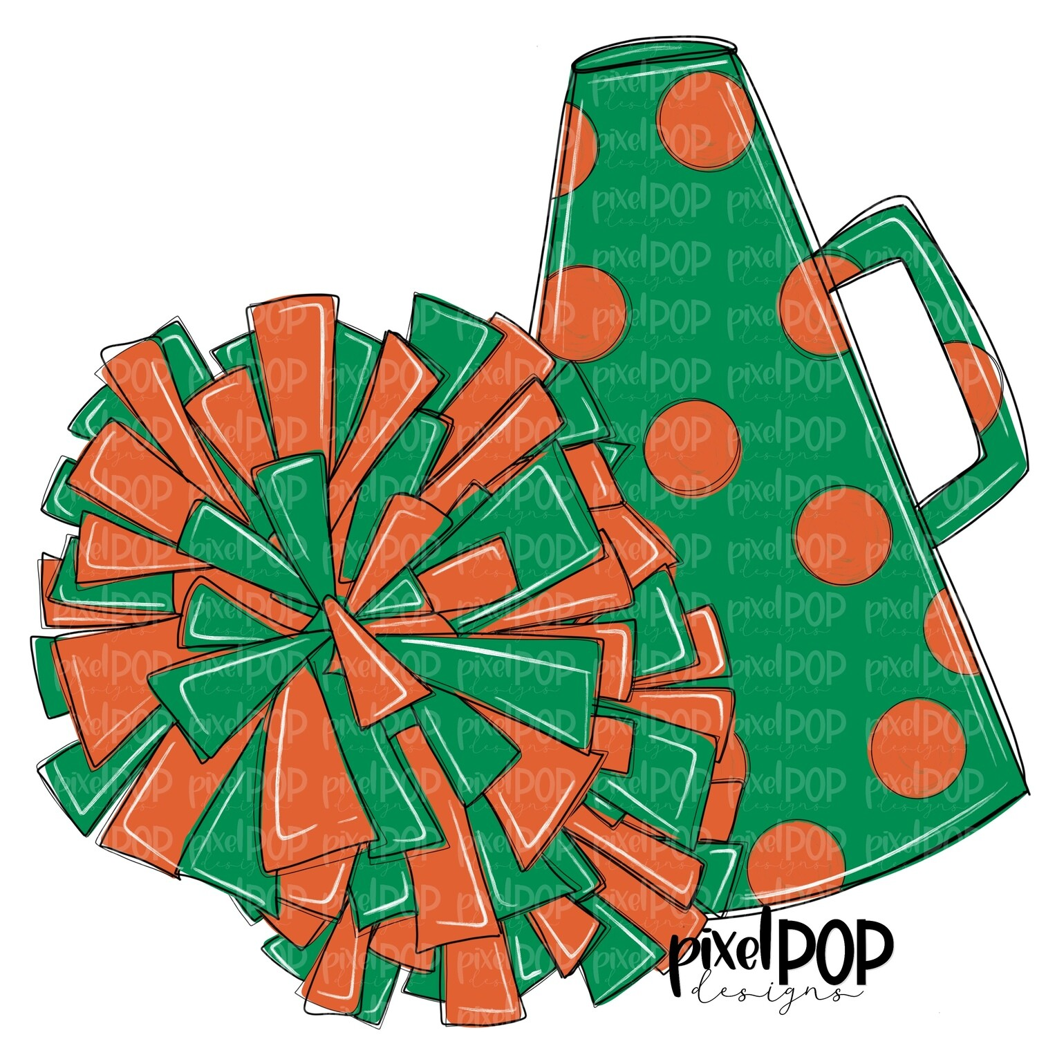 Cheerleading Megaphone and Poms Green and Orange PNG | Cheerleading | Cheer Design | Cheer Art | Cheer Blank | Sports Art