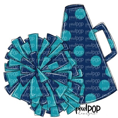 Cheerleading Megaphone and Poms Navy and Teal PNG   Cheerleading   Cheer Design   Cheer Art   Cheer Blank   Sports Art
