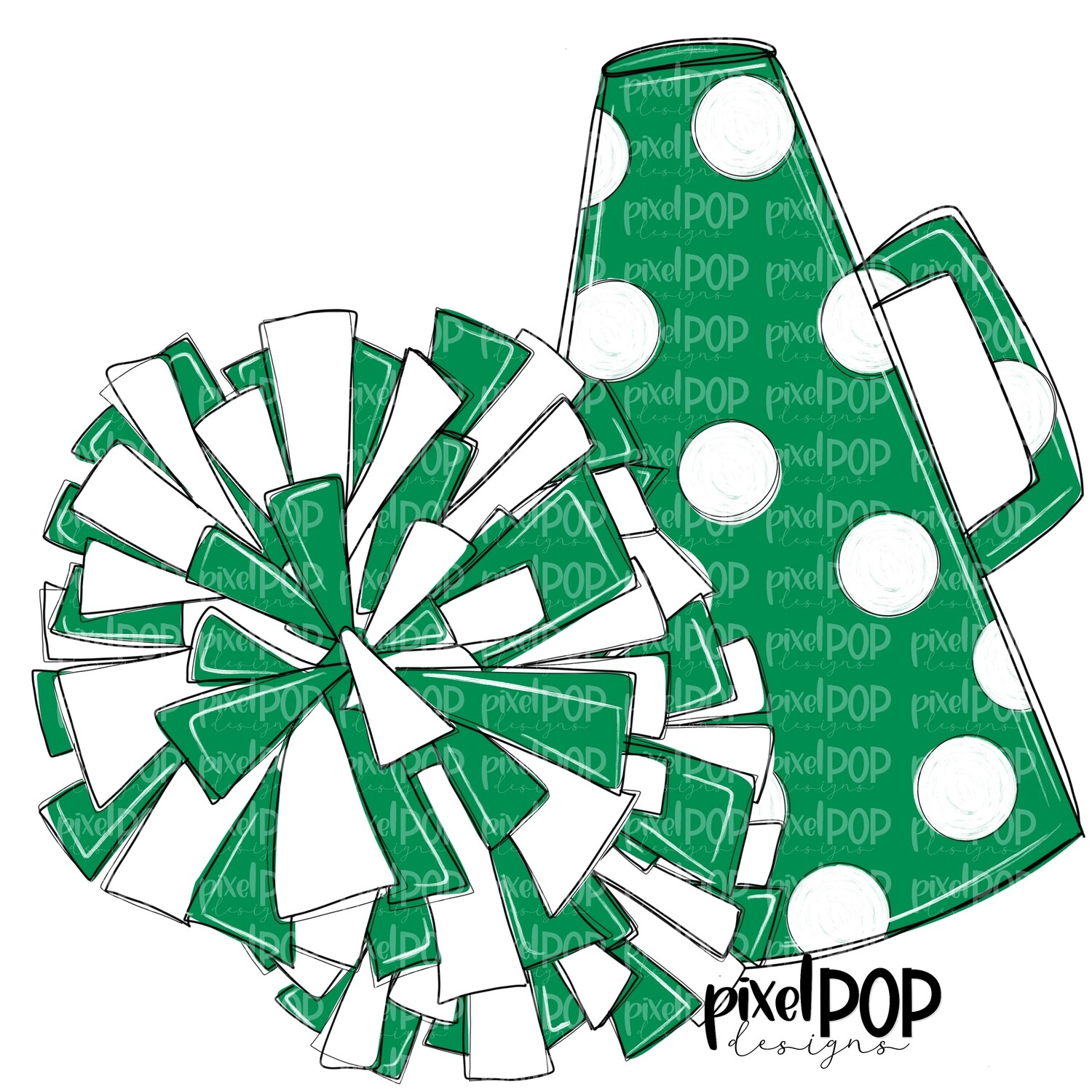 Cheerleading Megaphone and Poms Green and White PNG | Cheerleading | Cheer Design | Cheer Art | Cheer Blank | Sports Art