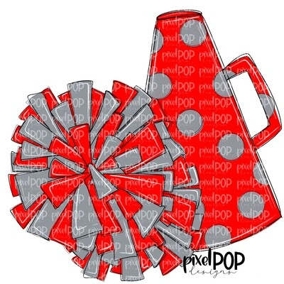 Cheerleading Megaphone and Poms Red and Grey PNG   Cheerleading   Cheer Design   Cheer Art   Cheer Blank   Sports Art