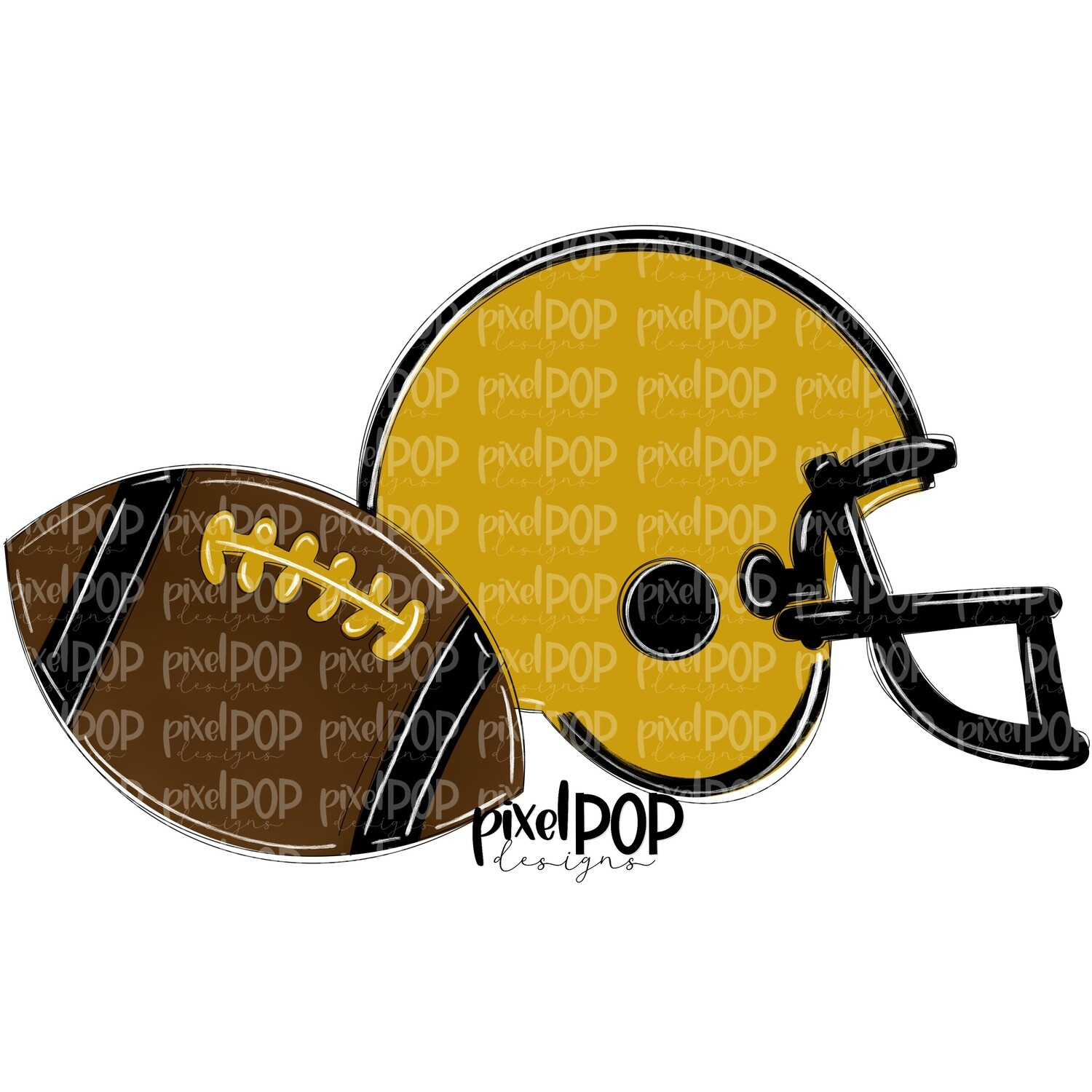 Football and Helmet Gold and Black PNG | Football | Football Design | Football Art | Football Blank | Sports Art