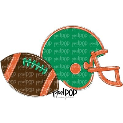 Football and Helmet Green and Orange PNG   Football   Football Design   Football Art   Football Blank   Sports Art