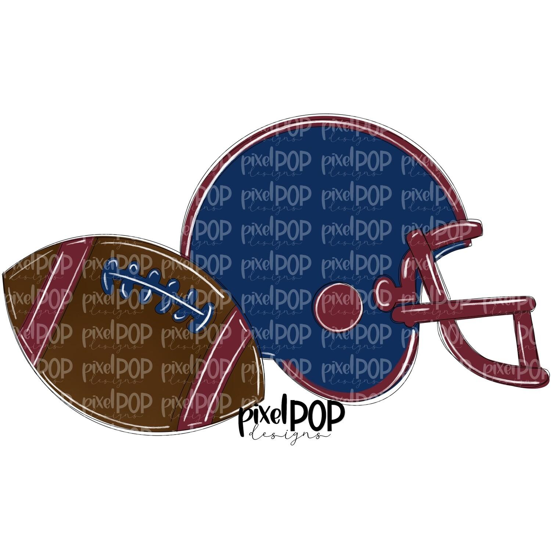 Football and Helmet Navy and Maroon Burgundy PNG   Football   Football Design   Football Art   Football Blank   Sports Art