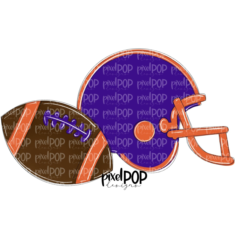 Football and Helmet Purple and Orange PNG   Football   Football Design   Football Art   Football Blank   Sports Art