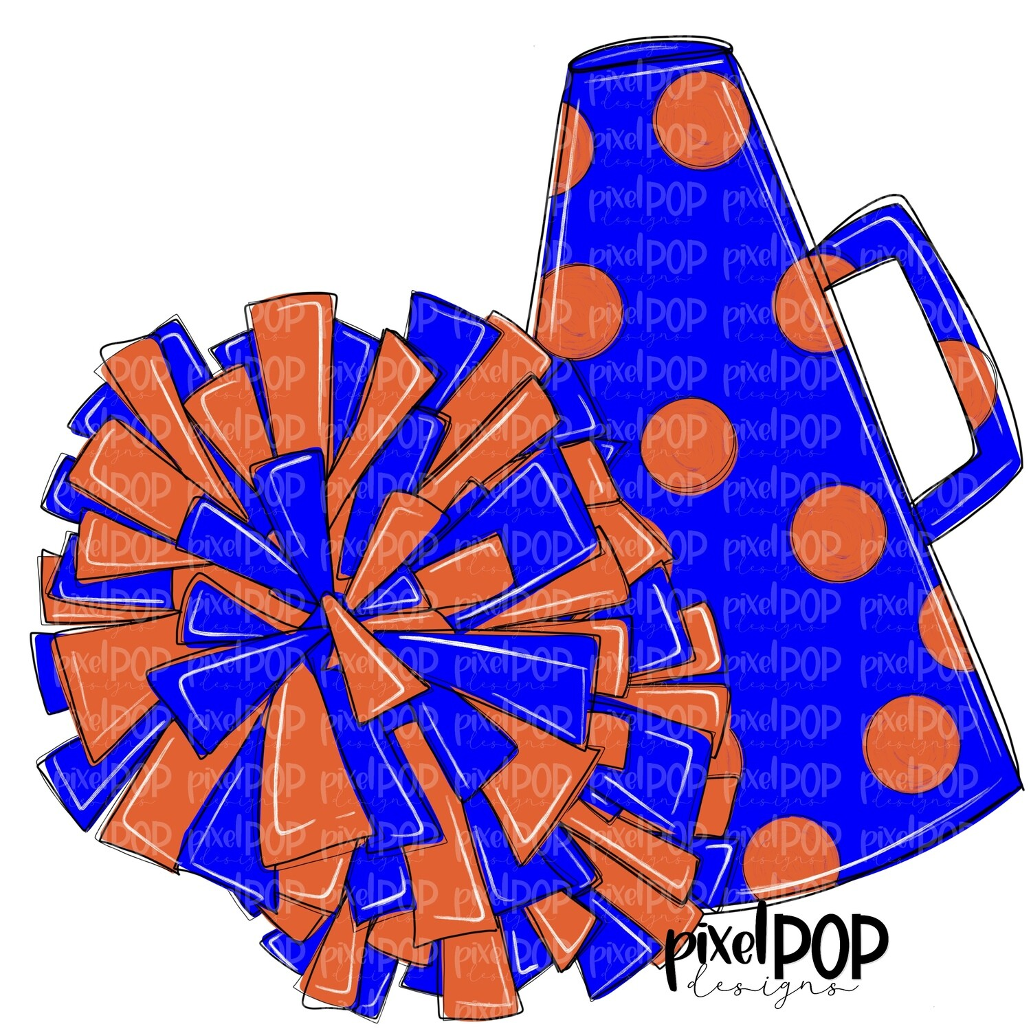 Cheerleading Megaphone and Poms Blue and Orange PNG   Cheerleading   Cheer Design   Cheer Art   Cheer Blank   Sports Art
