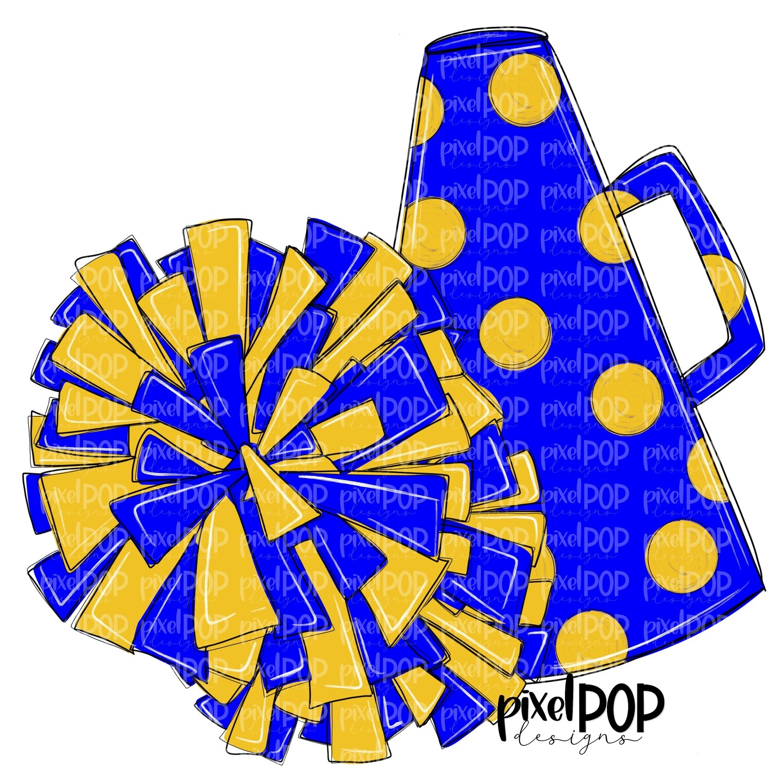 Cheerleading Megaphone and Poms Blue and Yellow PNG | Cheerleading | Cheer Design | Cheer Art | Cheer Blank | Sports Art