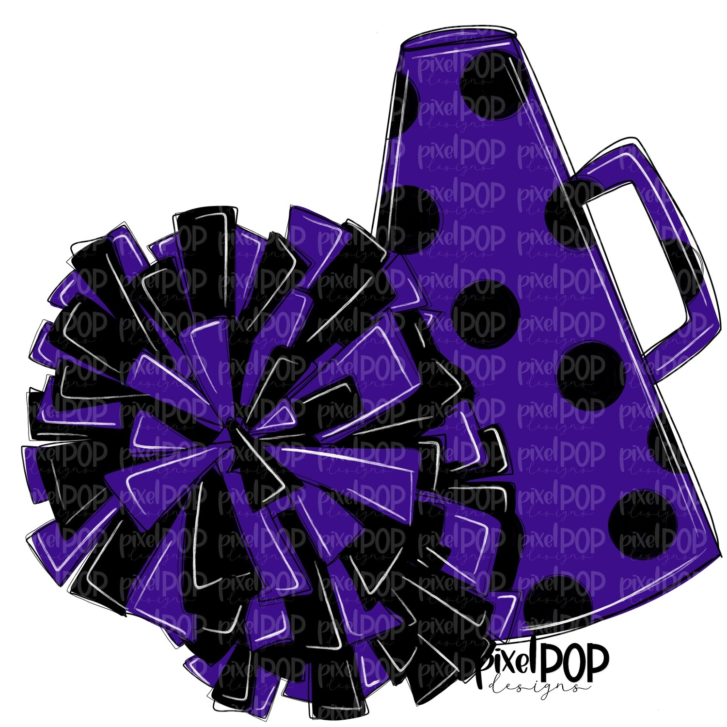Cheerleading Megaphone and Poms Purple and Black PNG | Cheerleading | Cheer Design | Cheer Art | Cheer Blank | Sports Art