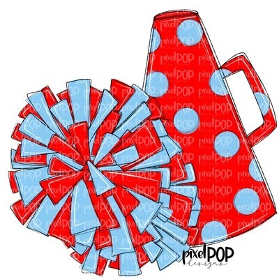 Cheerleading Megaphone and Poms Red and Light Blue PNG   Cheerleading   Cheer Design   Cheer Art   Cheer Blank   Sports Art