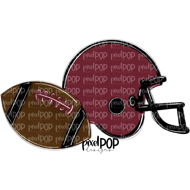Football and Helmet Black and Maroon Burgundy PNG | Football | Football Design | Football Art | Football Blank | Sports Art