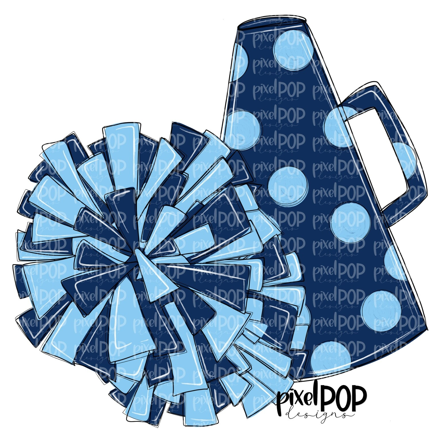 Cheerleading Megaphone and Poms Navy and Light Blue PNG   Cheerleading   Cheer Design   Cheer Art   Cheer Blank   Sports Art