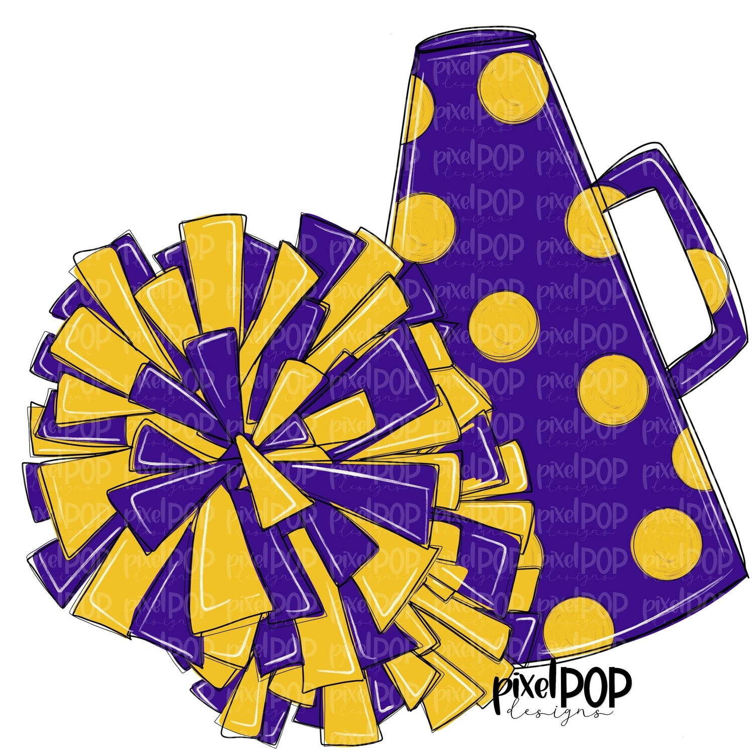 Cheerleading Megaphone and Poms Purple and Yellow PNG | Cheerleading | Cheer Design | Cheer Art | Cheer Blank | Sports Art