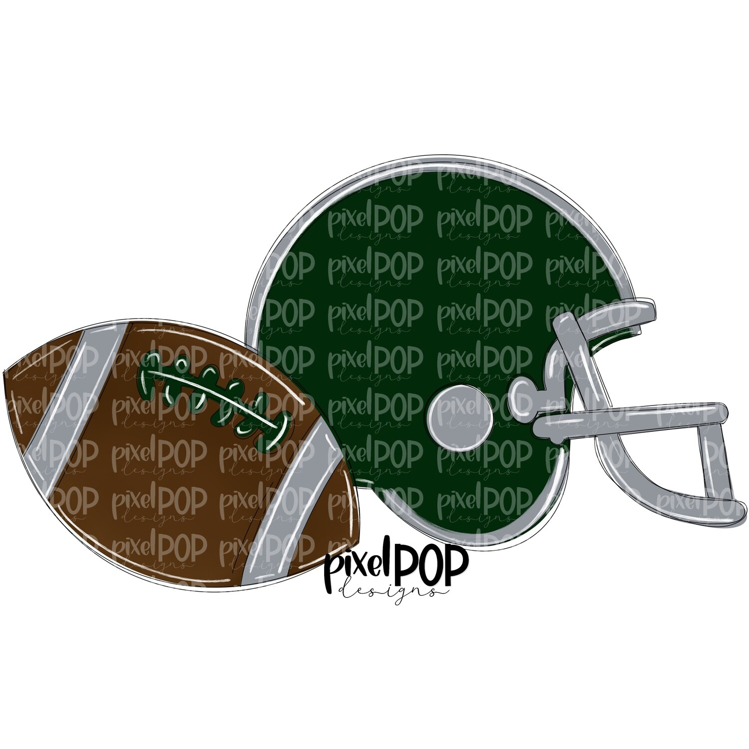 Football and Helmet Dark Green and Grey PNG | Football | Football Design | Football Art | Football Blank | Sports Art