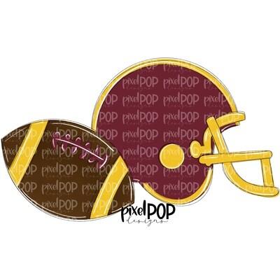 Football and Helmet Yellow and Maroon Burgundy PNG   Football   Football Design   Football Art   Football Blank   Sports Art