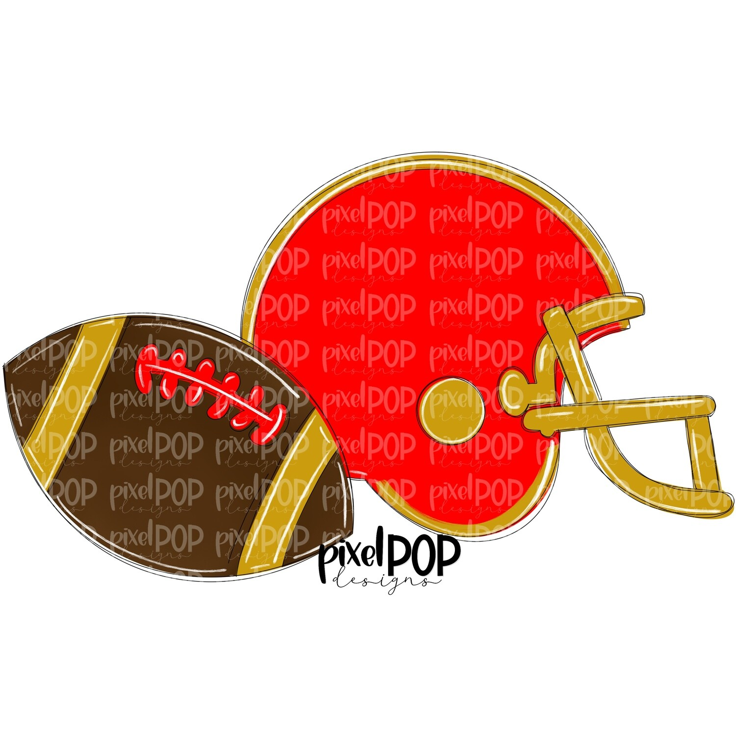 Football and Helmet Red and Gold PNG | Football | Football Design | Football Art | Football Blank | Sports Art