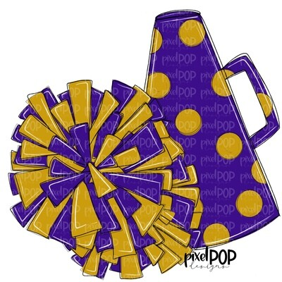 Cheerleading Megaphone and Poms Purple and Gold PNG   Cheerleading   Cheer Design   Cheer Art   Cheer Blank   Sports Art