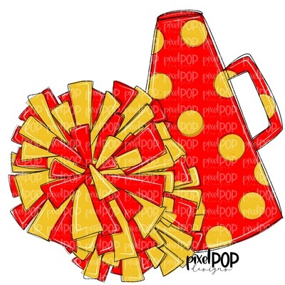 Cheerleading Megaphone and Poms Red and Yellow PNG   Cheerleading   Cheer Design   Cheer Art   Cheer Blank   Sports Art