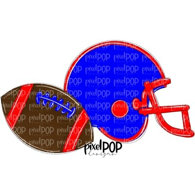 Football and Helmet Blue and Red PNG   Football   Football Design   Football Art   Football Blank   Sports Art