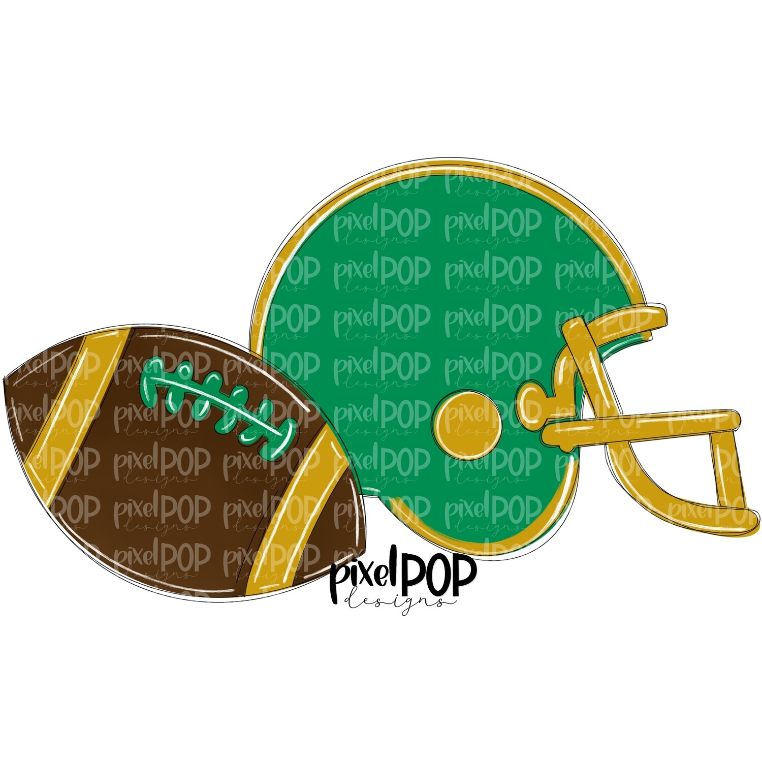 Football and Helmet Green and Gold PNG | Football | Football Design | Football Art | Football Blank | Sports Art