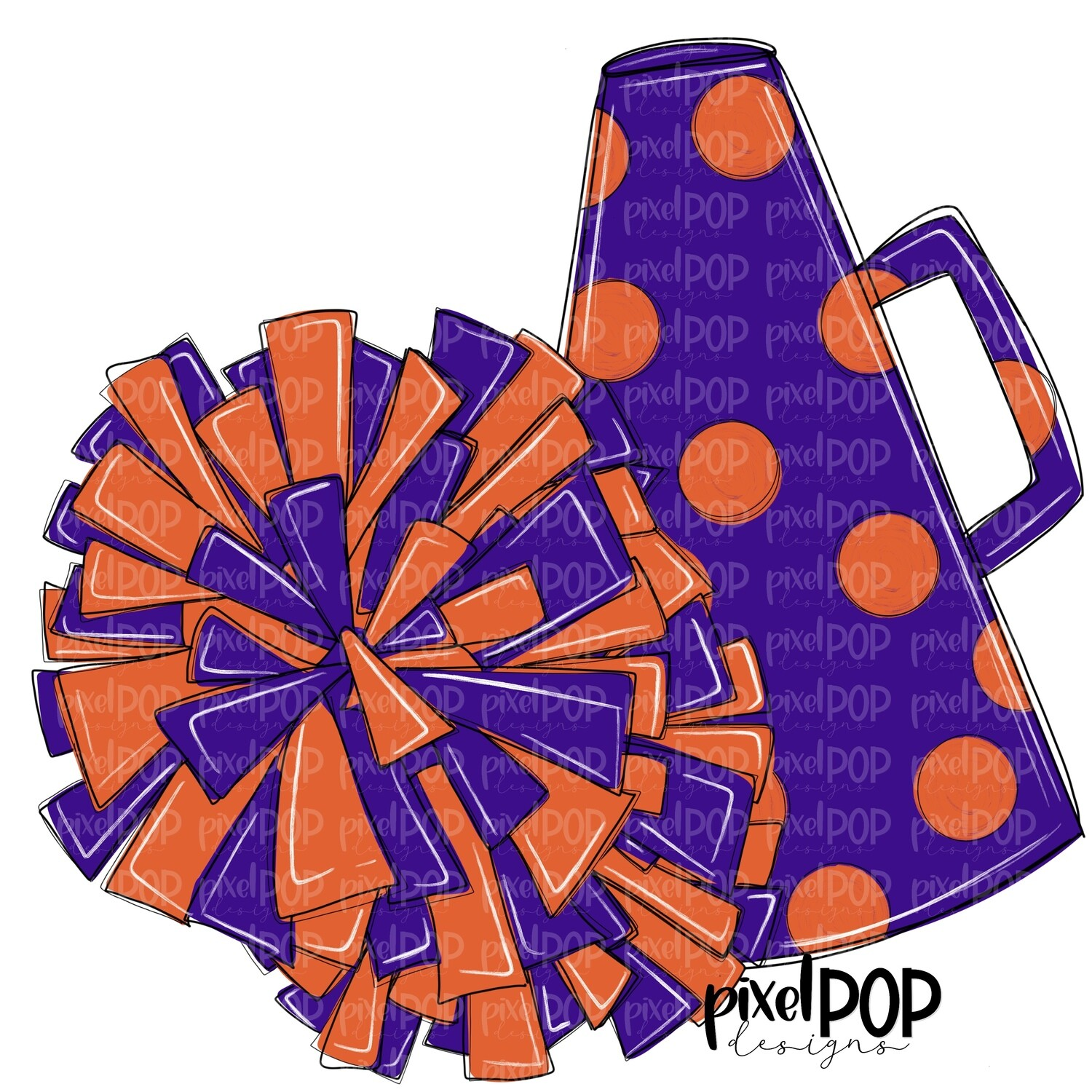 Cheerleading Megaphone and Poms Purple and Orange PNG | Cheerleading | Cheer Design | Cheer Art | Cheer Blank | Sports Art