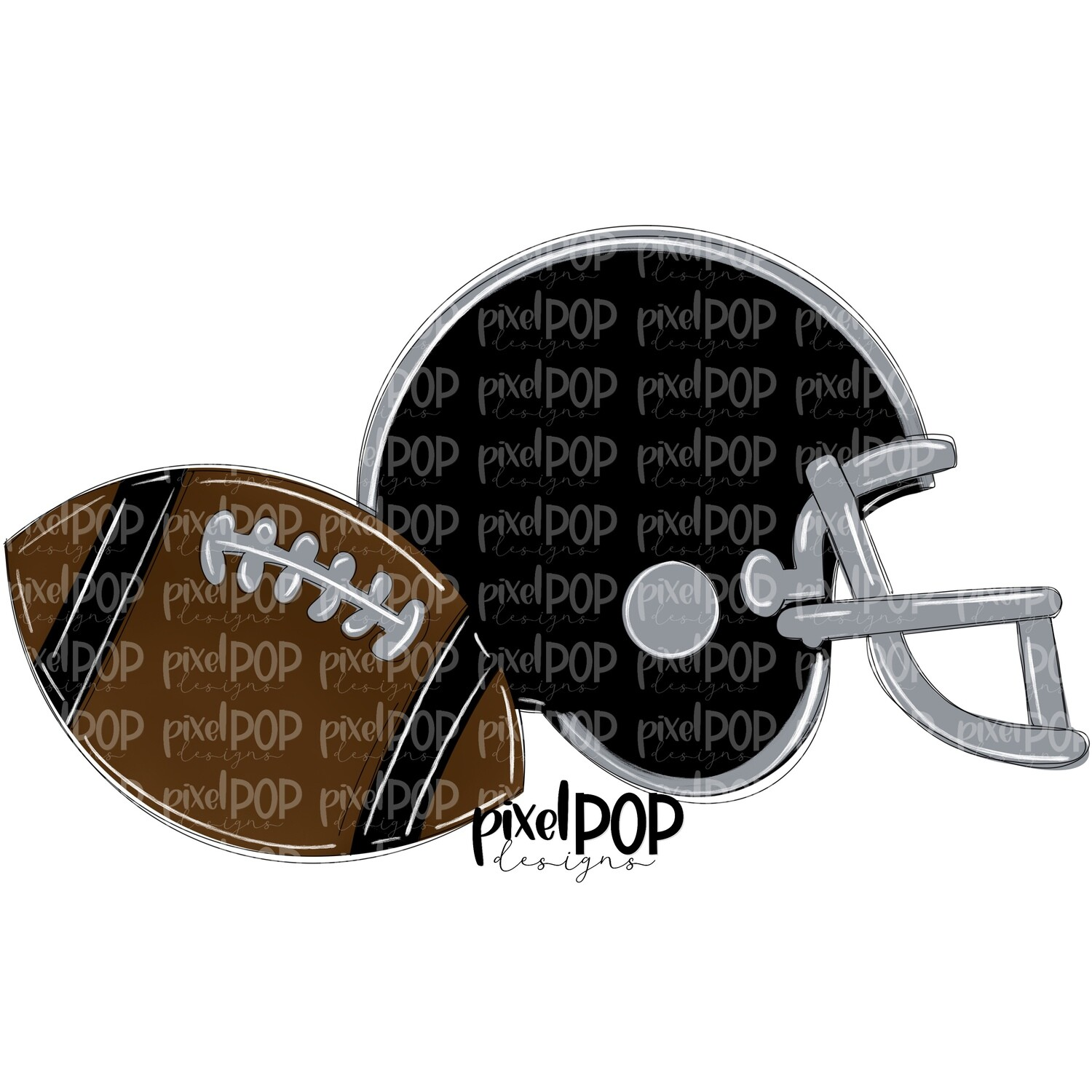 Football and Helmet Black and Grey PNG | Football | Football Design | Football Art | Football Blank | Sports Art