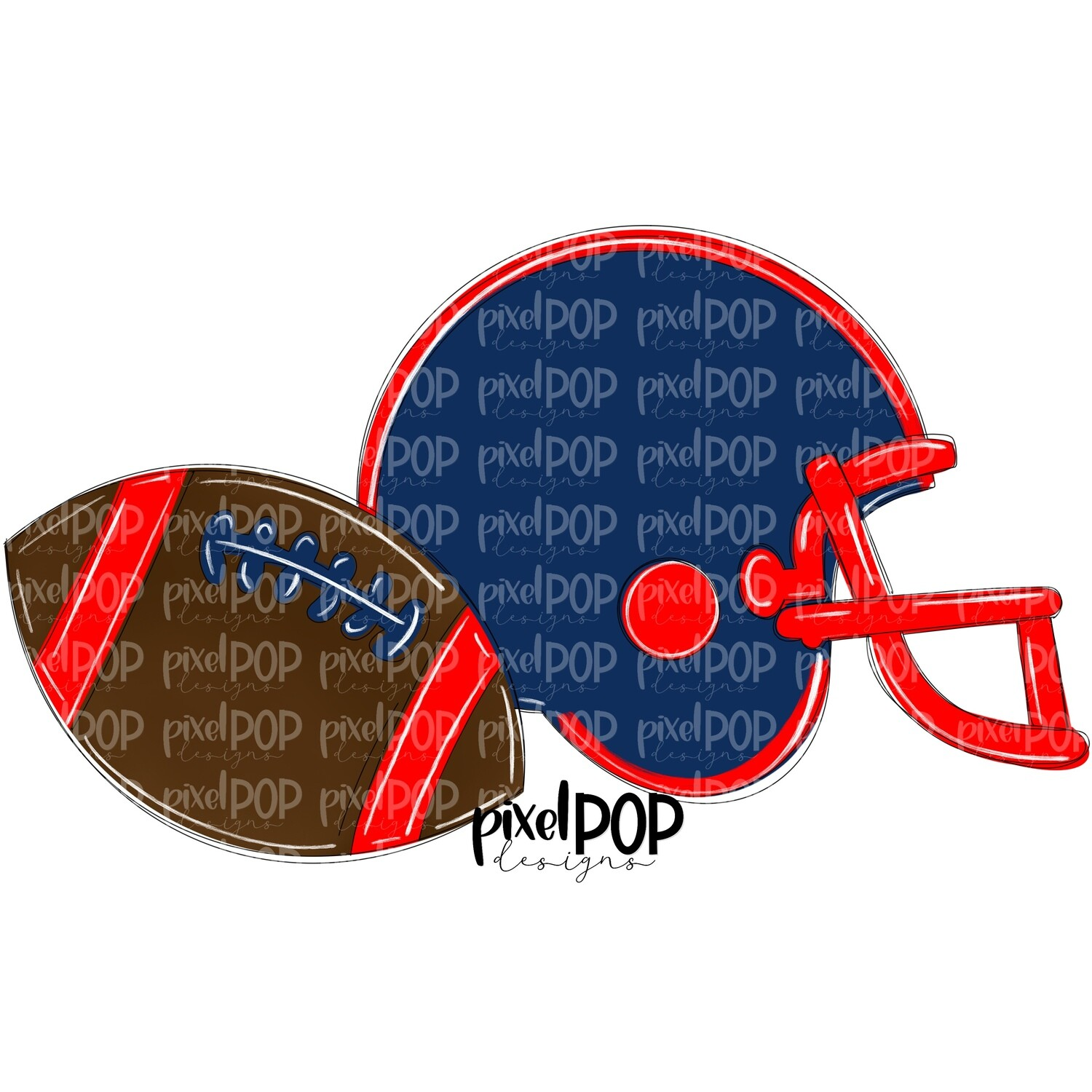 Football and Helmet Navy and Red PNG   Football   Football Design   Football Art   Football Blank   Sports Art