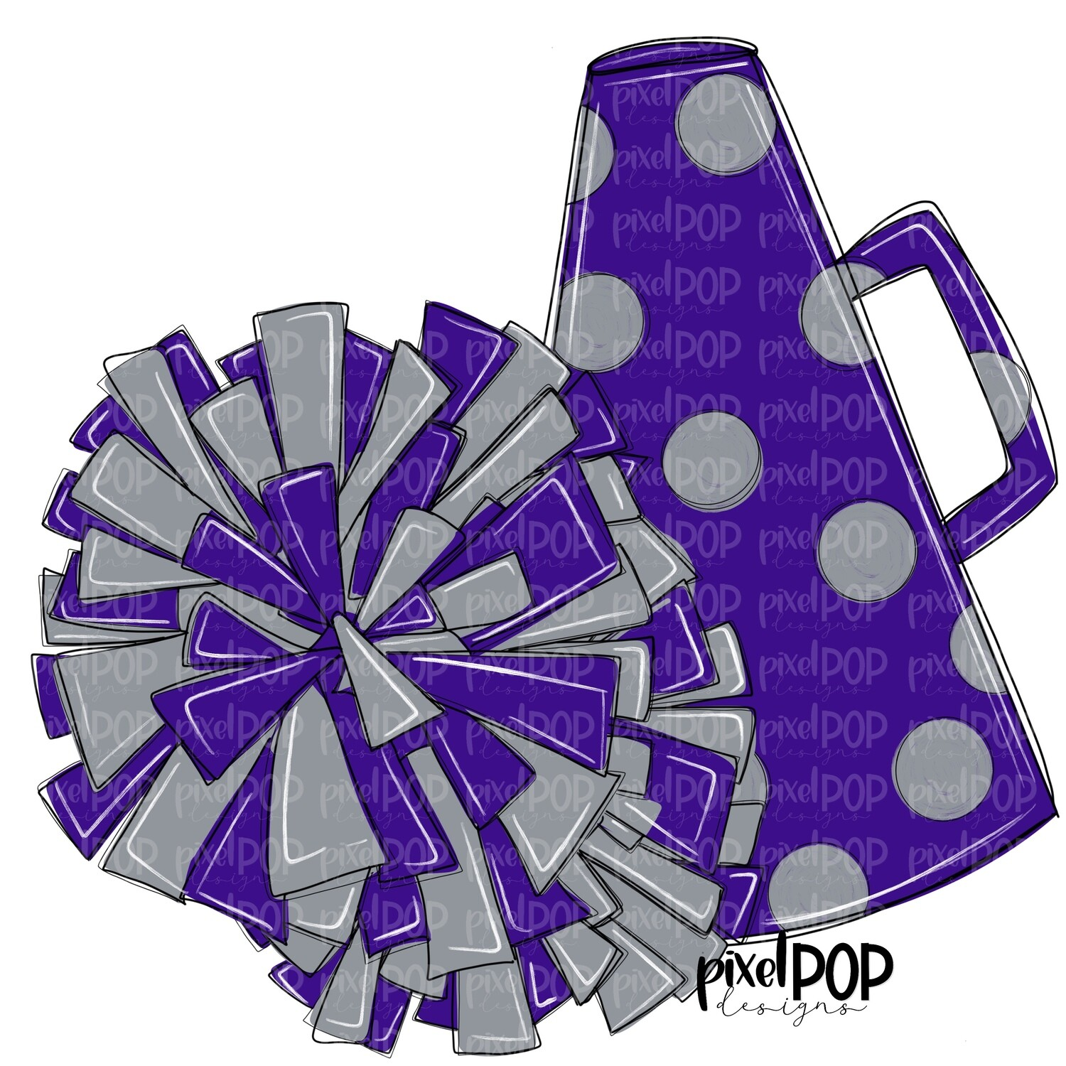 Cheerleading Megaphone and Poms Purple and Grey Silver PNG | Cheerleading | Cheer Design | Cheer Art | Cheer Blank | Sports Art