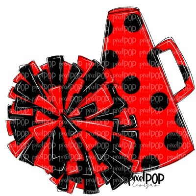 Cheerleading Megaphone and Poms Red and Black PNG   Cheerleading   Cheer Design   Cheer Art   Cheer Blank   Sports Art