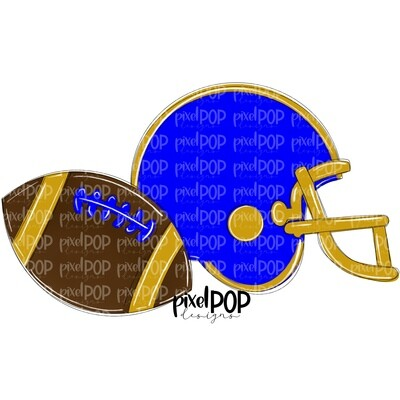 Football and Helmet Blue and Gold PNG   Football   Football Design   Football Art   Football Blank   Sports Art