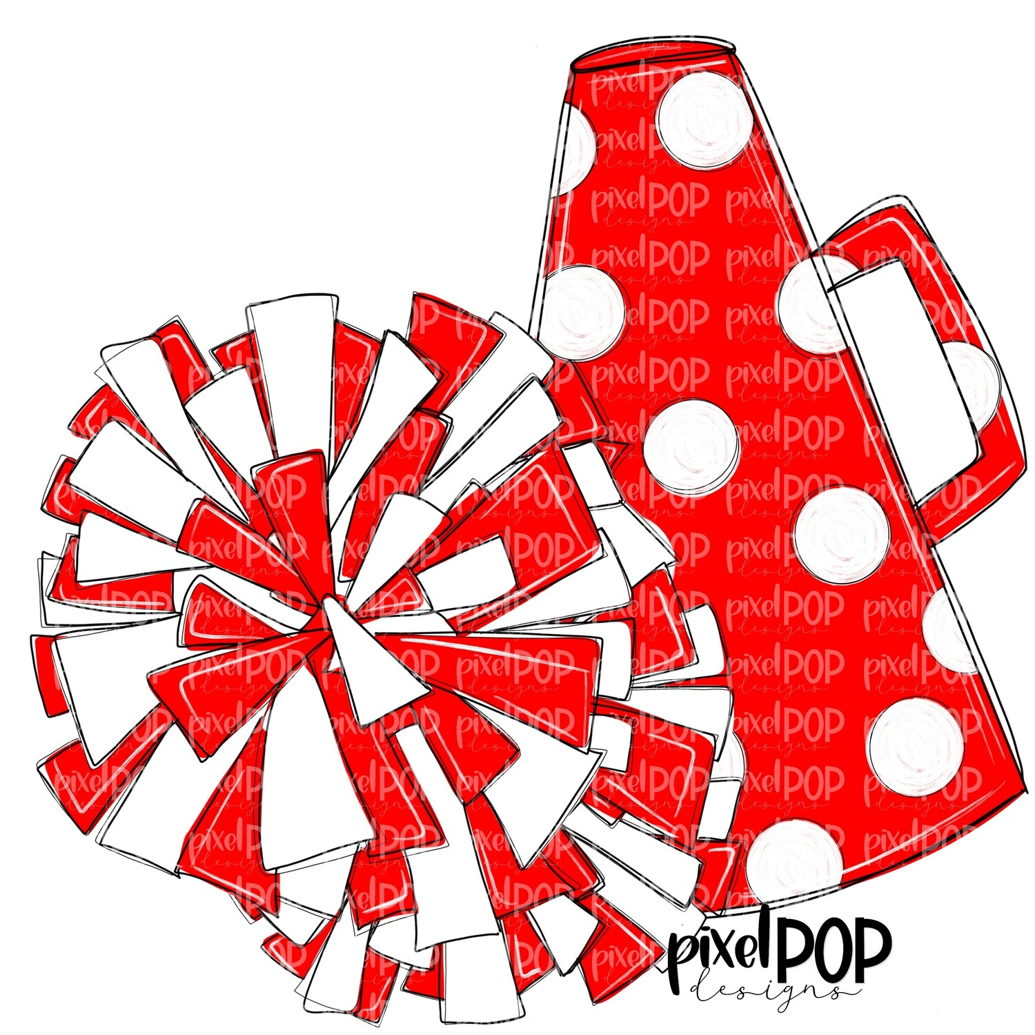 Cheerleading Megaphone and Poms Red and White PNG | Cheerleading | Cheer Design | Cheer Art | Cheer Blank | Sports Art
