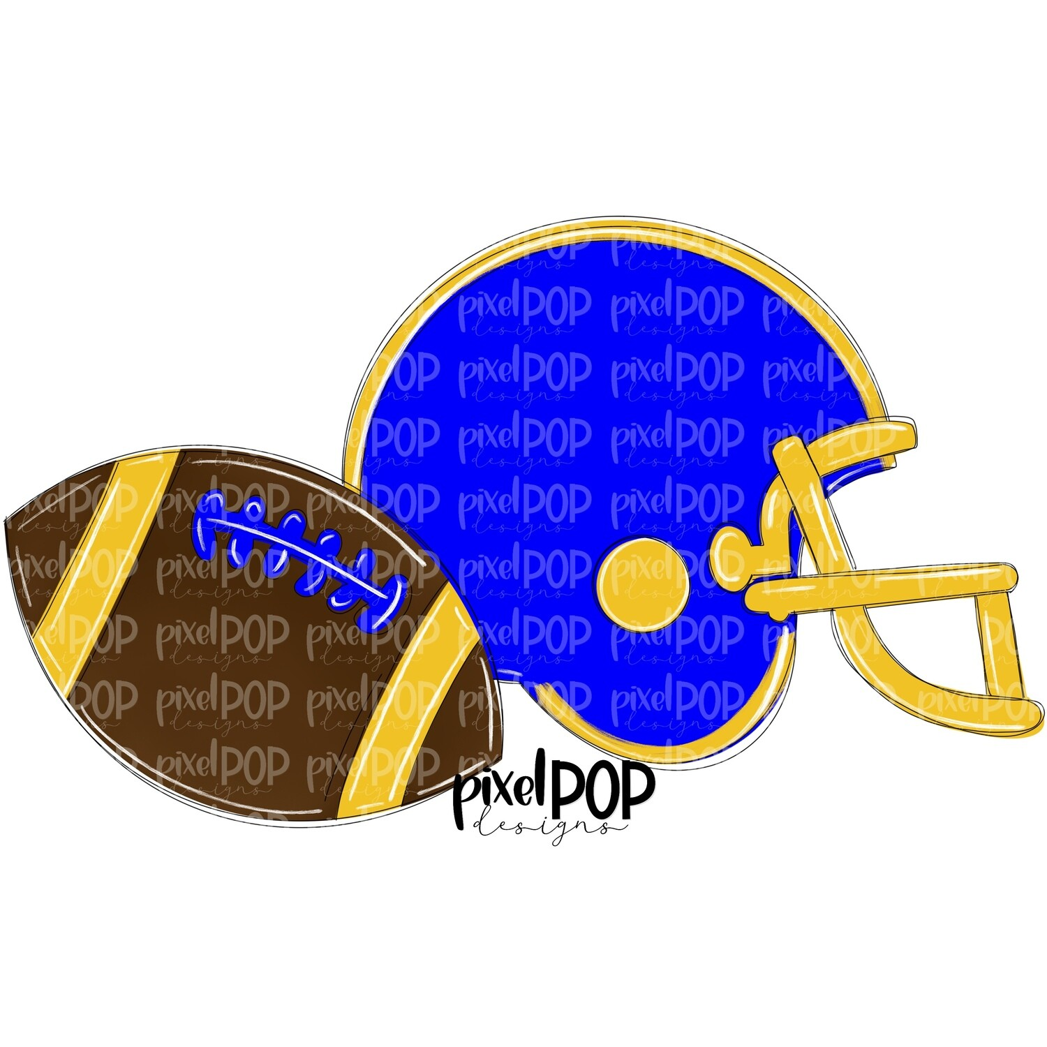 Football and Helmet Blue and Yellow PNG   Football   Football Design   Football Art   Football Blank   Sports Art