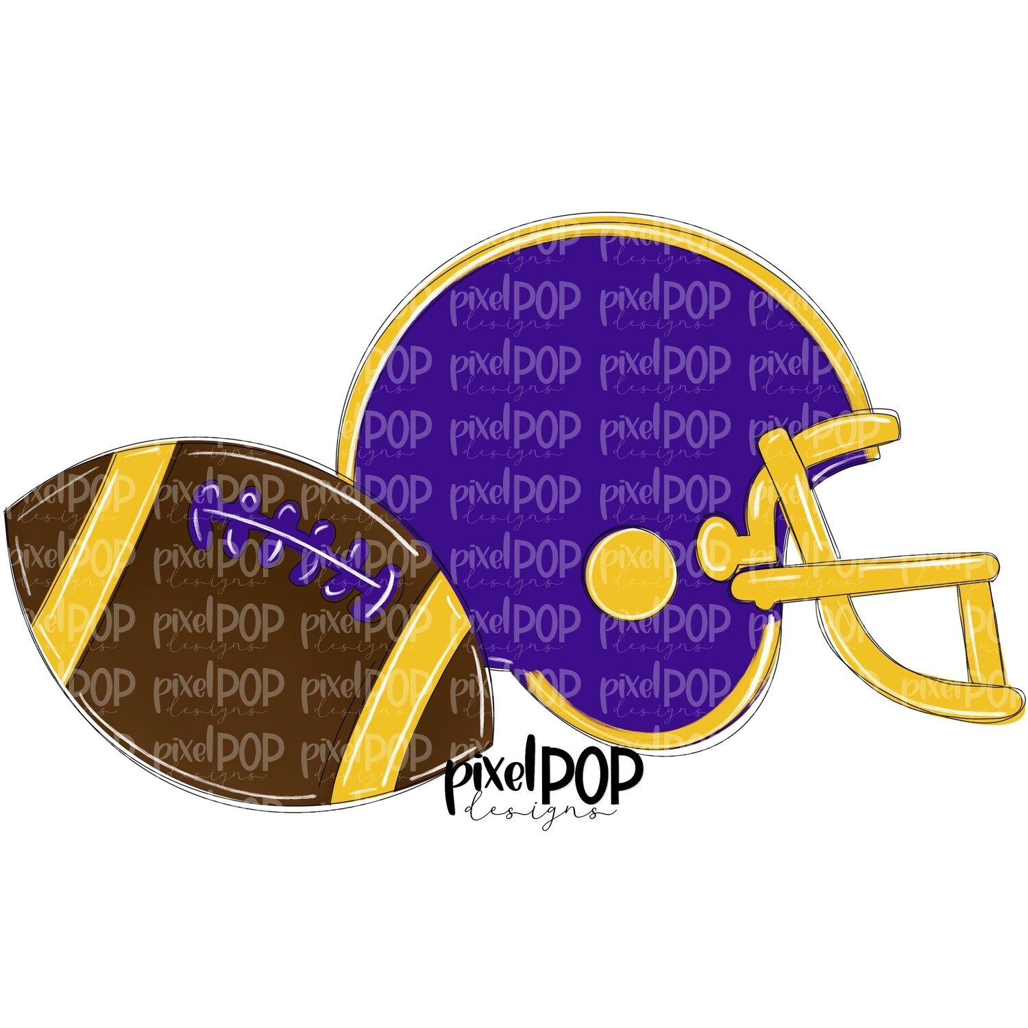 Football and Helmet Purple and Yellow PNG | Football | Football Design | Football Art | Football Blank | Sports Art